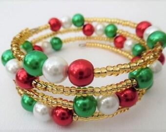 Christmas Bracelet, Wrap Bracelet, One Size Bracelet, Plus Size Bracelet, Pearl Bracelet, Christmas Colours, Christmas Theme, Red Green