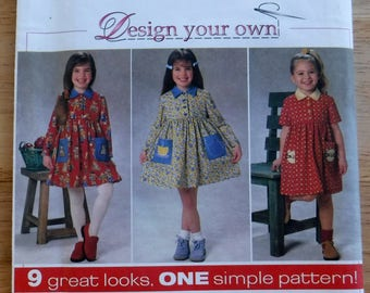 Simplicity vintage girl dress pattern, schoolgirl dress sewing pattern, uncut pattern,3 4  5 6 toddler girl dress, design your own dress