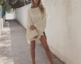 super chunky slouchy ivory white sweater, pullover, slouchy sweater, sweater dress,  distressed sweater