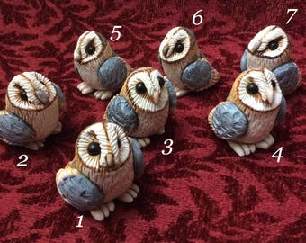 Barn Owl hand sculpted figurine ...sculpey polymer clay bird sculpture numbered collectible