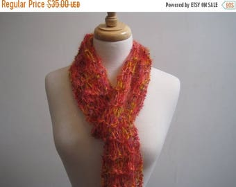"""EARLY FALL SALE orange scarf, long scarf, mohair scarf, knitted scarf, lacy scarf, feminine scarf, gift scarf """"fluff"""""""