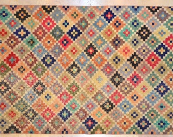 4' x 8.5' Carpet Bright Multicolor Overdyed Rug Vintage