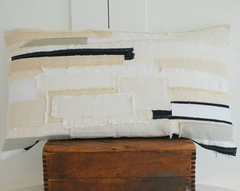 "Layered texture 16"" x 28""  rectangle pillow cover /  Black / Cream / White / Gray / patched up /  layered pattern / textured pillow / boho"