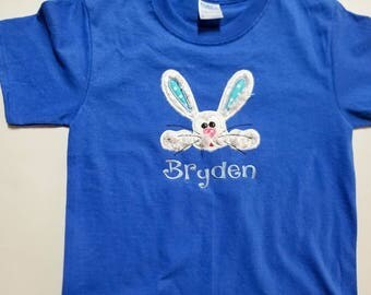 Custom Embroidered Kids Easter Shirt - Girls Easter Shirt - Boys Easter Shirt - Easter Rabbit - Easter Bunny Shirt - Personalized Shirt
