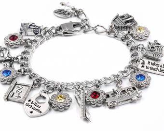 Teacher Bracelet, Personalized Teacher Gift, Teacher Jewelry, Teacher Birthday, Teacher Appreciation, Back to School