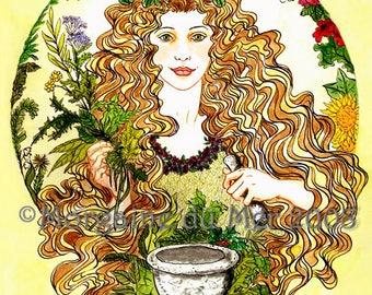 Airmid Celtic Herb Goddess Print Pagan Mythology Magickal Fantasy Fine Art Pen and Ink Watercolor Illustration Altar Decor