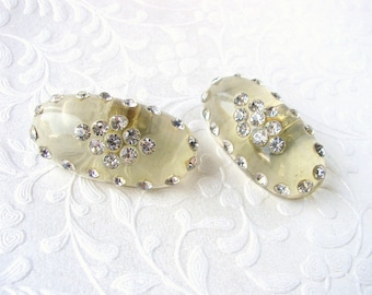 Clear Lucite Rhinestone Shoe Clips Vintage Costume Jewelry Wedding Bridal Formal Evening Pageant Ballroom Cocktail Prom Acrylic 1940s 1950s