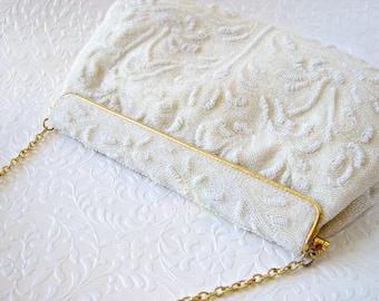 Vintage Lederer De Paris White Beaded Purse French Glass Bead Purse Wedding Handbag Formal Evening Bag Across Body Chain Strap Boho Chic