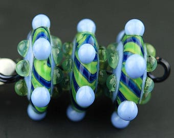 Glass Bead Set / Handmade Beads / Lampwork Beads/ Blue / Green / Jewelry Supplies