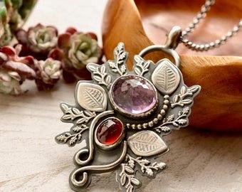 Summer Sale Amethyst Pendant, Hessonite Garnet Necklace, Modern Metalwork, Nature Inspired, Hand Stamped Silver Leaf Pendant, Botanical Jewe