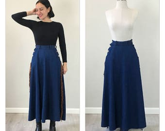 Vintage 80s Western Denim Circle Skirt  S   M