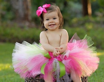 SUMMER SALE 20% OFF Pink Green Tutu - Girls Tutu - Strawberry Dreams with Lime - up to 10'' long - sizes Newborn to 5T
