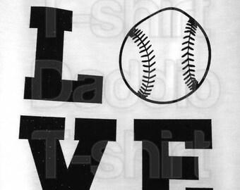 SUMMER SALE 20% OFF Diy Baseball Softball Love Black Glitter Vinyl Iron-On Applique