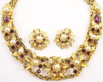 Amethyst and Pearl Necklace Set