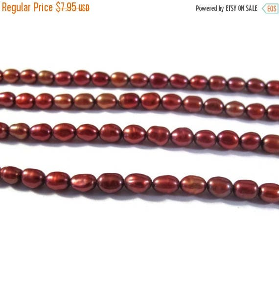 Summer SALEabration - Red Pearl Beads, Lustrous Rice Pearls, Freshwater Pearls for Making Jewelry, 5mm x 3.5mm, Jewelry Supplies (P-R15)