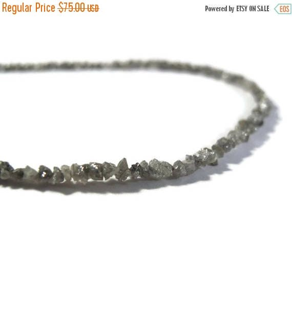 Summer SALEabration - Rough Diamond Beads, Tiny Silvery Gray Nuggets, Natural Raw Diamond Beads, Conflict Free, 8 inch Strand, Gray Diamonds
