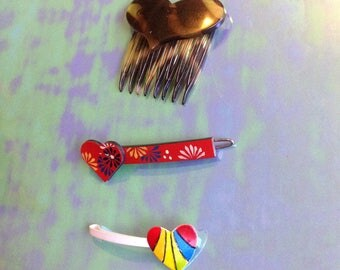 Vintage Heart Barrettes Hair Comb Bobby Pin