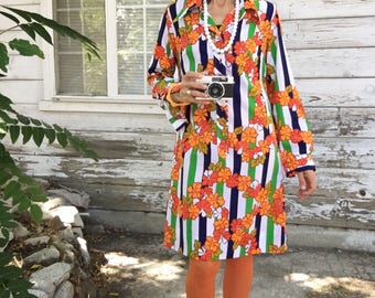 Vintage 60s dress,colorful,floral,stripes,orange,unique,fun,mod,boho,midi,long sleeve,M,L,orange,green,white,usa made,red