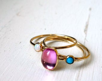 Stacking Trio Set- 14k GoldFill with Pink Sapphire, Opal and Turquoise Pink Blue and White Stacking Gemstone Ring Set