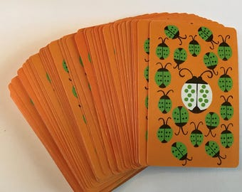LADYBUGS Vintage Deck of Playing Cards Mod Orange Green and White