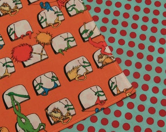 Lorax Thneeds and Truffula Trees- Blue Red Dots - Reversible Cloth Lunch Napkin Set
