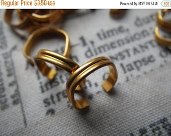 SALE 30% Off Brass Bracelet Links 2mm Heavy Corrugated 20 Gauge 6 Pcs