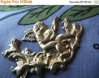SALE 30% Off Jamming Cupid Mandolin Player or Musical Putti Vintage Brass Stampings 35x26mm Diameter 2Pcs