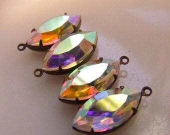 SALE 20% Off Crystal AB 18X9mm Navette Glass Drops 4 Pcs
