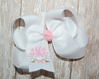Monogrammed Easter Bow - Easter Headband - Baby Headband - Custom Embroidered Bow - Baby Bow - Toddler Bow - Your Choice of Color
