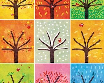 Large poster, nine trees