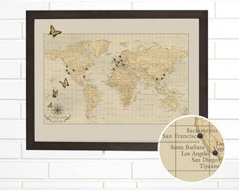 Push Pin Map, Personalized Butterfly World Pushpin Travel Map, Customized Butterfly Map Art