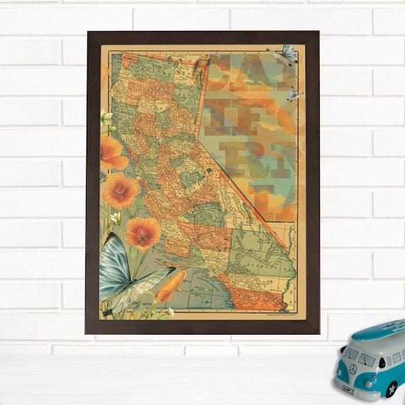 vintage california map art lithograph california wall map. Black Bedroom Furniture Sets. Home Design Ideas