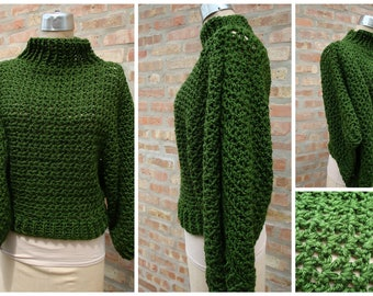 The Crochet Pullover - Sweater -  Custom Colors Available  - Olive Green