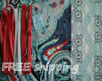 FREE Ship DIY Fabric + Notions Shades of Blue Paisley & Blue for 1 BRA + Panty by Merckwaerdigh