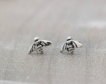 Bee Stud Earrings - Sterling Silver Post Earrings