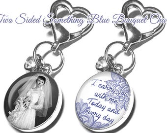 Personalized Wedding Bouquet Charm, Something Blue, Gift for Bride, Brooch, Memorial, Custom, Bridal Bouquet, Photo, Memory Charm, Bouquet
