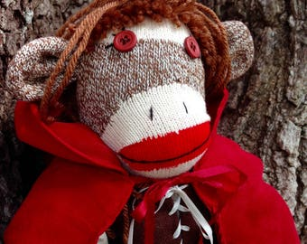 Little Red Riding Hood sock monkey -Ready to ship!