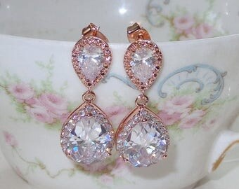 20% OFF Rose Gold Bridal Bridesmaid Earrings Cubic Zirconia Wedding Jewelry Bridal Jewelry