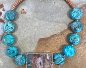 Statement necklace with African turquoise and jasper