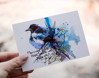 Magpie Print. Good Luck Gift. Magpie Wall Art. Superstitious Friend Gift. Magpie Rhyme Quote. Bird Wall Decor. Magpie Collector Gift. Magpie