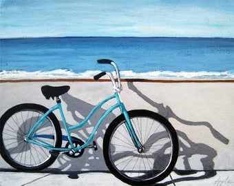 Bicycle art by the ocean  print from original oil painting