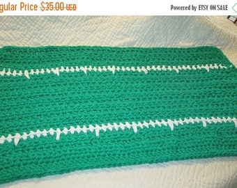 25% OFF STORE SALE Crocheted Bath Mat Triple Cotton Yarn Hot Green and White
