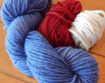 Patriotic Colors in Bulky Baby Alpaca Yarn Perfect for Your Handmade Projects, Knitting, Crochet, Weaving, DIY