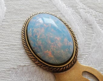 Bookmark. Vintage Czech Glass Cameo, Opalescence