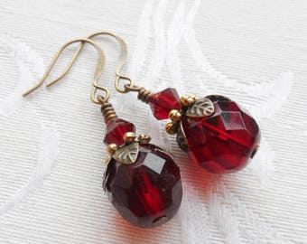 50% Off- Ruby Red Vintage Beads, Czech Glass Earrings, Antique Brass