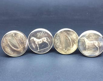 Ireland coin cufflinks 20 pence. Horse - Irish Hunter. 27mm.