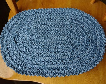 Crochet Cottage Blue Colour Macrame Cord Placemats 11 x16 inches.Accessory, Set of 4.