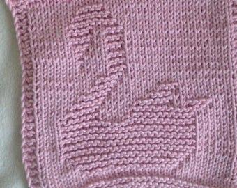PATTERN - dishcloth / washcloth knitting pattern - Swan