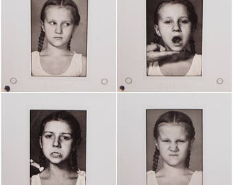 11 Vintage Photo Slides - Girl Making Faces - young girl pigtails - silly face - facial expressions - black and white photography