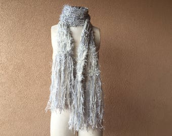 Light Grey Scarf Silver Gray and Ivory Off White Scarf Handmade Accessories Knit Scarf Knit Accessories
